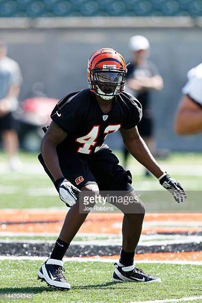 George Iloka of the Cincinnati Bengals works out during a rookie minicamp at Paul Brown Stadium on May 11 2012 in Cincinnati Ohio