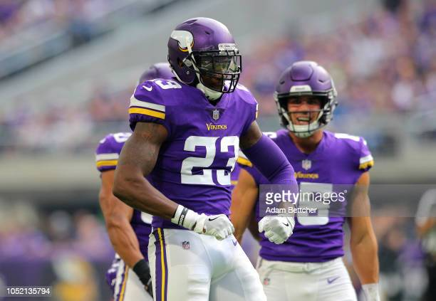 George Iloka of the Minnesota Vikings celebrates after making a tackle in the third quarter of the game against the Arizona Cardinals at US Bank...
