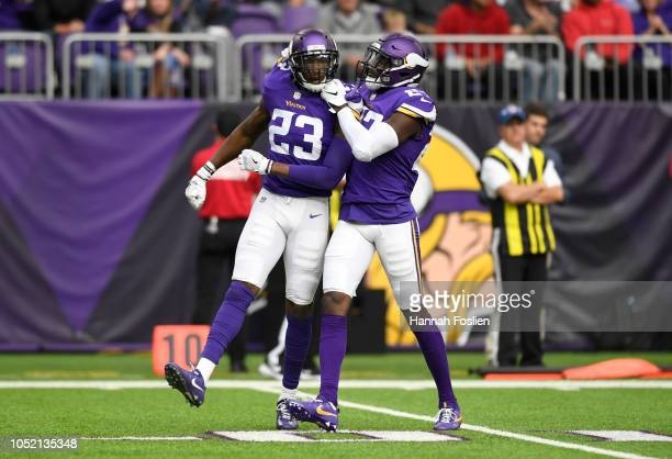 George Iloka of the Minnesota Vikings celebrates after tackling Brandon Williams of the Arizona Cardinals in the third quarter of the game at US Bank...