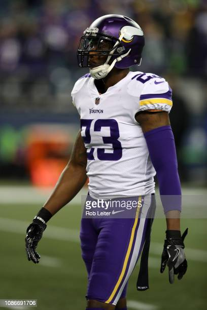 George Iloka of the Minnesota Vikings looks on during the game against the Seattle Seahawks at CenturyLink Field on December 10 2018 in Seattle...