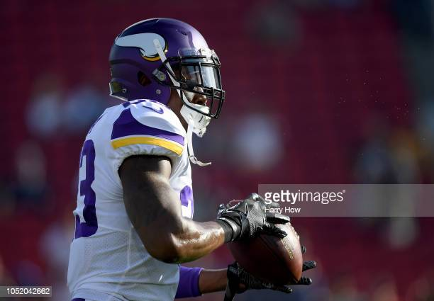 George Iloka of the Minnesota Vikings warms up before the game against the Los Angeles Rams at Los Angeles Memorial Coliseum on September 27 2018 in...