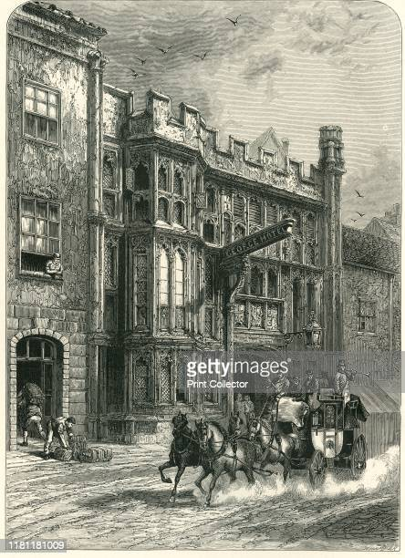 George Inn Glastonbury' circa 1870 Built in the late 15th century to accommodate visitors to Glastonbury Abbey designated as Grade I listed and...