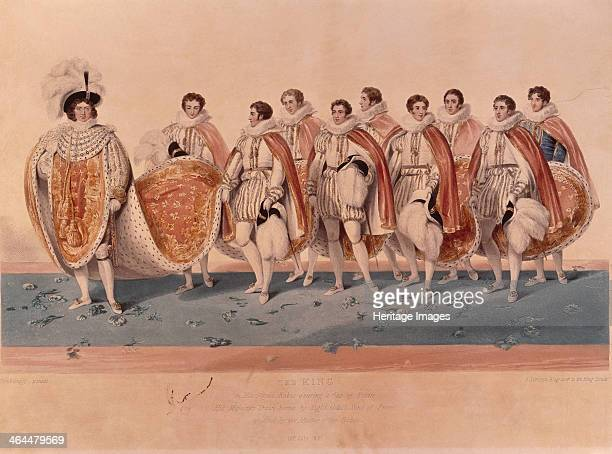 George IV in coronation robes 1821 The king is attended by 8 eldest sons of Peers who hold his train They wear Elizabethan dress of ruff doublet and...