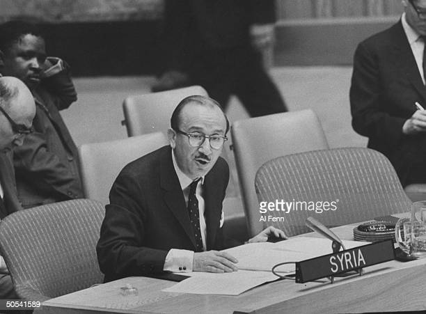 George J. Tomeh of Syria at UN Security Council session re: Arab-Israeli war.