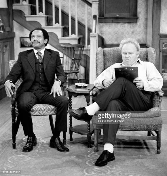"""George Jefferson visits Archie Bunker in the 'George and Archie Make a Deal' episode of the CBS television series """"All In The Family."""""""