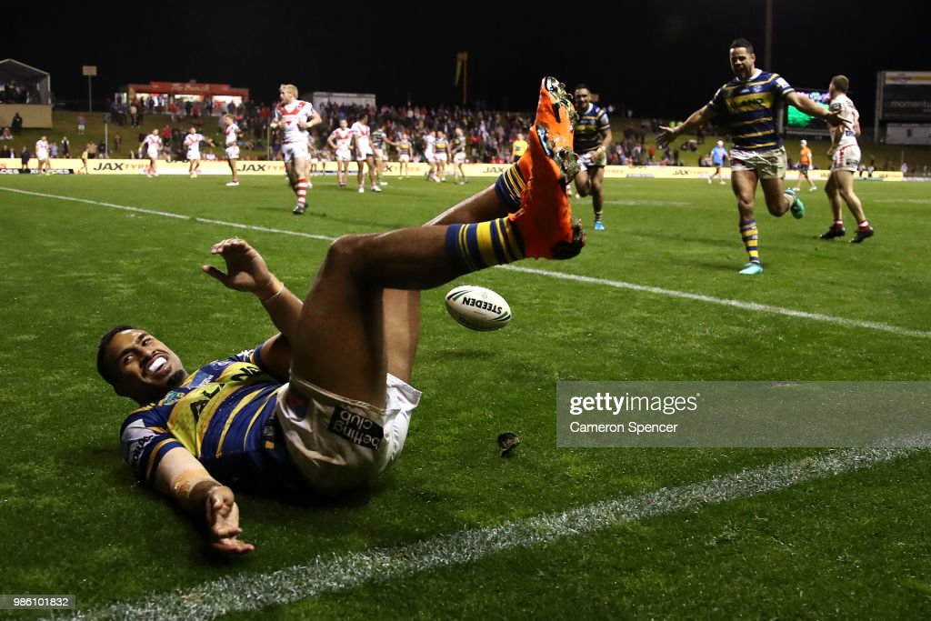 George Jennings of the Eels attempts to score a try that is disallowed during the round 16 NRL match between the St George Illawarra Dragons and the Parramatta Eels at WIN Stadium on June 28, 2018 in Wollongong, Australia.