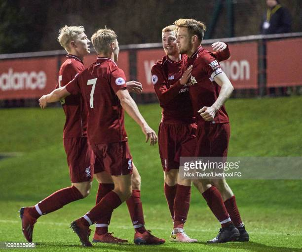 George Johnston of Liverpool celebrates his goal with Glen McAuley Paul Glatzel and Luis Longstaff during the PL2 game at The Kirkby Academy on...