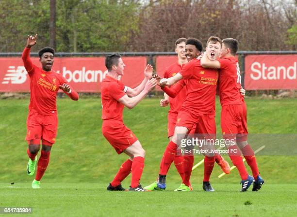 George Johnston of Liverpool celebrates scoring the opening goal with team mates Okera Simmonds Liam Coyle Conor Masterson Abdi Sharif and Adam Lewis...