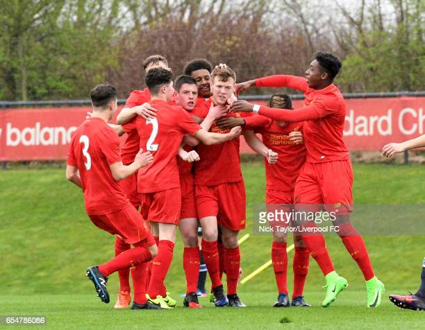 George Johnston of Liverpool celebrates scoring the opening goal with team mates Anthony Glennon Neco Williams Conor Masterson Liam Coyle Abdi Sharif...
