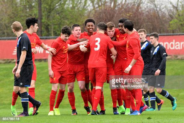 George Johnston of Liverpool celebrates scoring the opening goal with team mates Curtis Jones Neco Williams Liam Coyle Abdi Sharif Anthony Glennon...