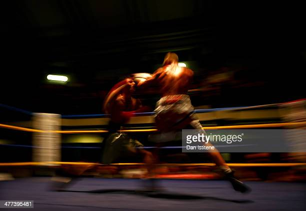 George Jupp and Gia Atenov exchange punches during their International Masters Silver Super Featherweight title bout at York Hall on March 8 2014 in...