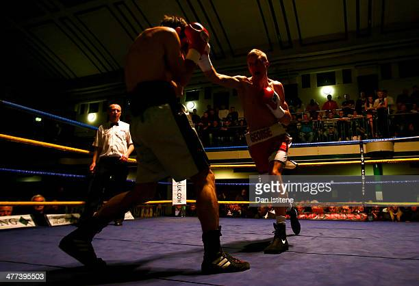 George Jupp lands a punch on Gia Atenov during their International Masters Silver Super Featherweight title bout at York Hall on March 8 2014 in...