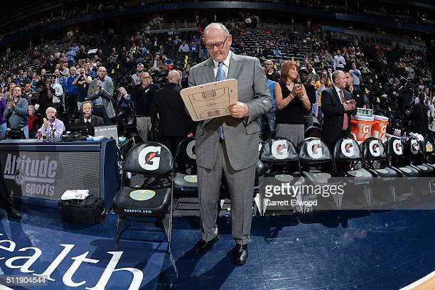 George Karl of the Sacramento Kings before the game against the Denver Nuggets on February 23 2016 at the Pepsi Center in Denver Colorado NOTE TO...
