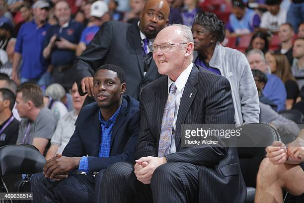 George Karl of the Sacramento Kings sits on the sideline during a game against the Los Angeles Lakers on April 13 2015 at Sleep Train Arena in...