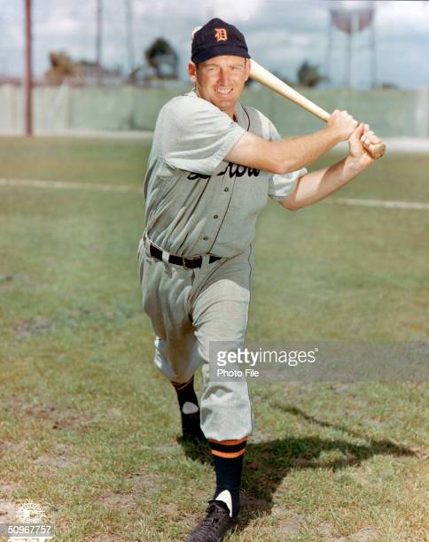 George Kell of the Detroit Tigers poses for an action portrait Kell played for the Tigers from 19461952