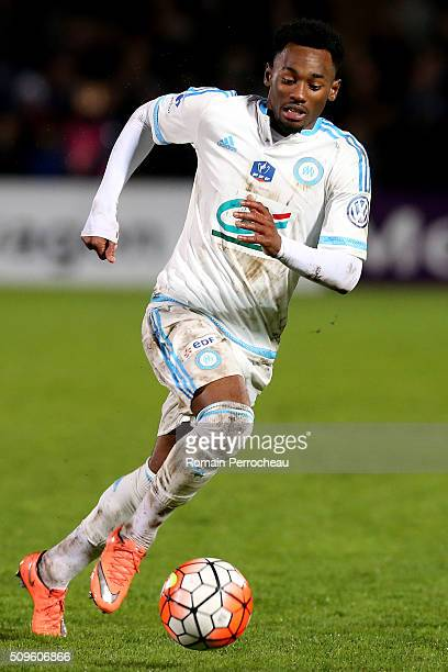 George Kevin Nkoudou of Olympique de Marseille in action during the French Cup match between Trelissac FC and Olympique de Marseille at Stade...