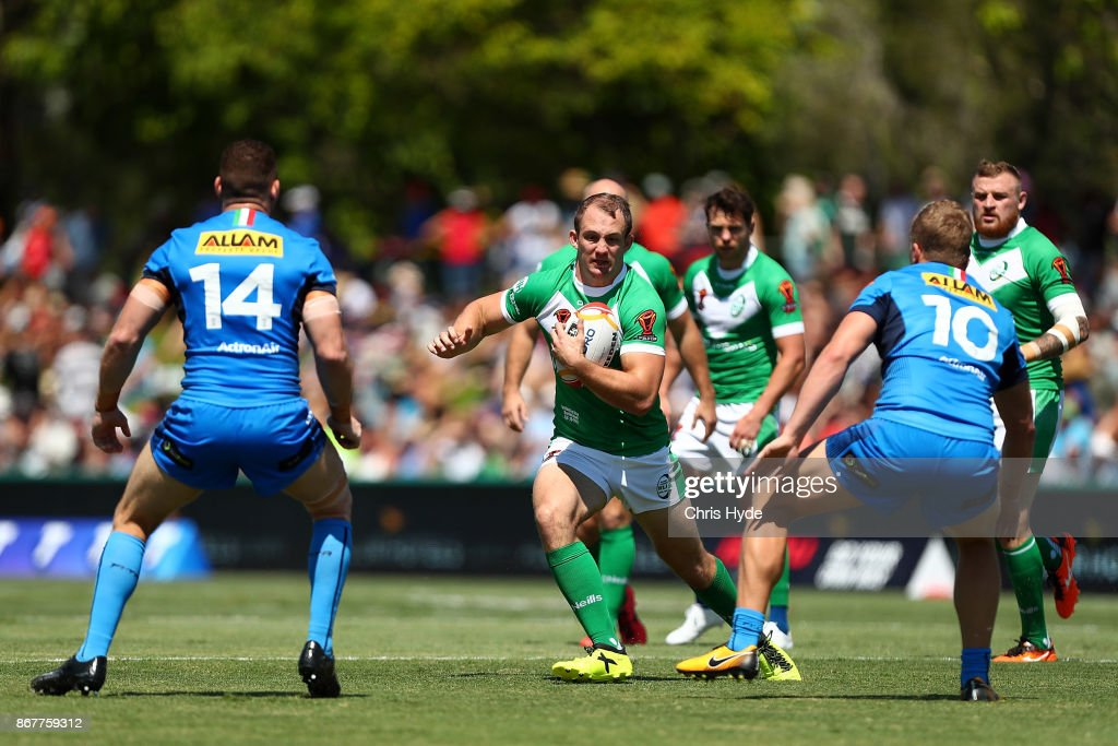 George King of Ireland runs the ball during the 2017 Rugby League World Cup match between Ireland and Italy at Barlow Park on October 29, 2017 in Cairns, Australia.
