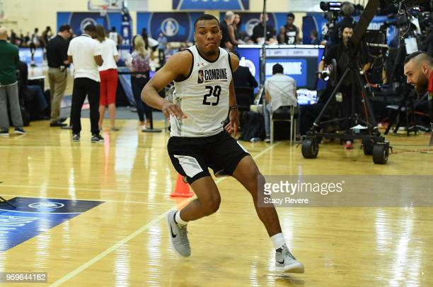 George King participates in drills during Day One of the NBA Draft Combine at Quest MultiSport Complex on May 17 2018 in Chicago Illinois NOTE TO...