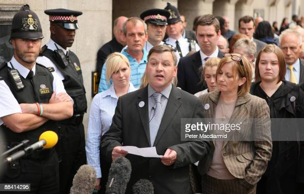 George Kinsella father of murdered schoolboy Ben Kinsella reads a statement outside the Old Bailey with his daughter Brooke Kinsella and his wife...