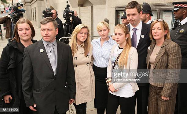 George Kinsella father of murdered schoolboy Ben Kinsella stands with family members Holly Jade Brooke Georgia Christopher and Deborah outside the...