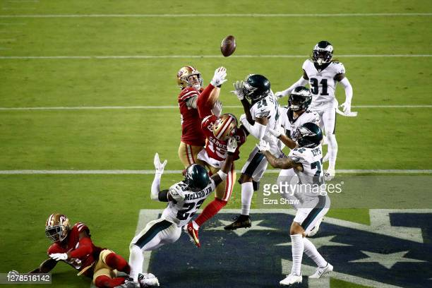 George Kittle and Deebo Samuel of the San Francisco 49ers fail to make a catch in the end zone at the end of the game against Darius Slay Marcus Epps...