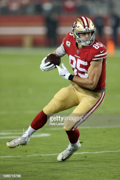 George Kittle of the San Francisco 49ers in action during the game against the New York Giants at Levi Stadium on November 11 2018 in Santa Clara CA...