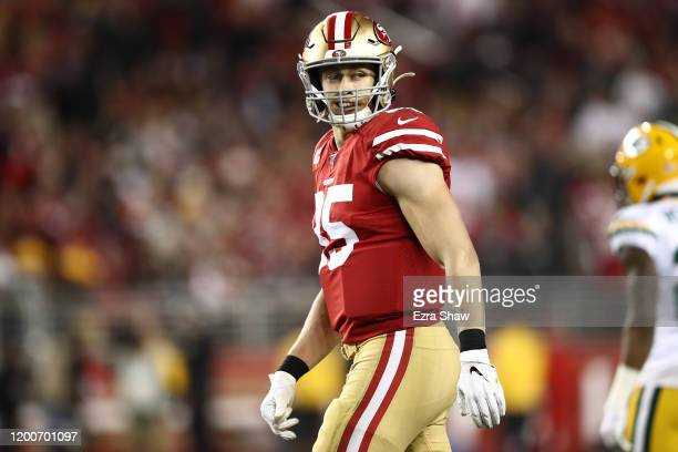 George Kittle of the San Francisco 49ers looks on during the NFC Championship game against the Green Bay Packers at Levi's Stadium on January 19 2020...
