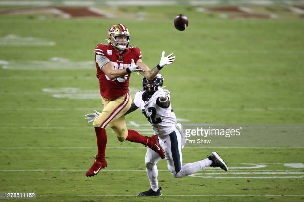 George Kittle of the San Francisco 49ers makes a catch against K'Von Wallace of the Philadelphia Eagles in the third quarter of the game at Levi's...