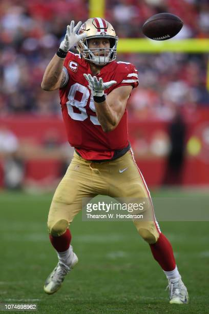George Kittle of the San Francisco 49ers makes a catch against the Chicago Bears during their NFL game at Levi's Stadium on December 23 2018 in Santa...