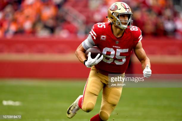 George Kittle of the San Francisco 49ers makes a catch as the Denver Broncos take on the San Francisco 49er's at Levi's Stadium December 9, 2018 in...