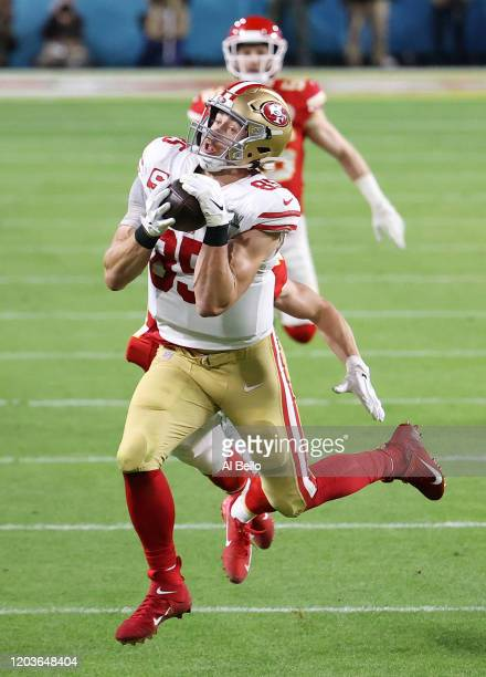 George Kittle of the San Francisco 49ers makes a reception against the Kansas City Chiefs during the second quarter in Super Bowl LIV at Hard Rock...