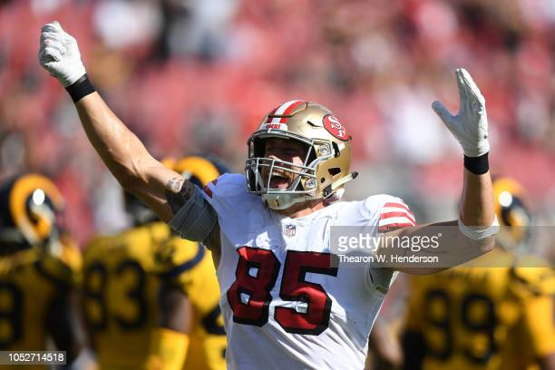 George Kittle of the San Francisco 49ers reacts after a play against the Los Angeles Rams during their NFL game at Levi's Stadium on October 21, 2018...