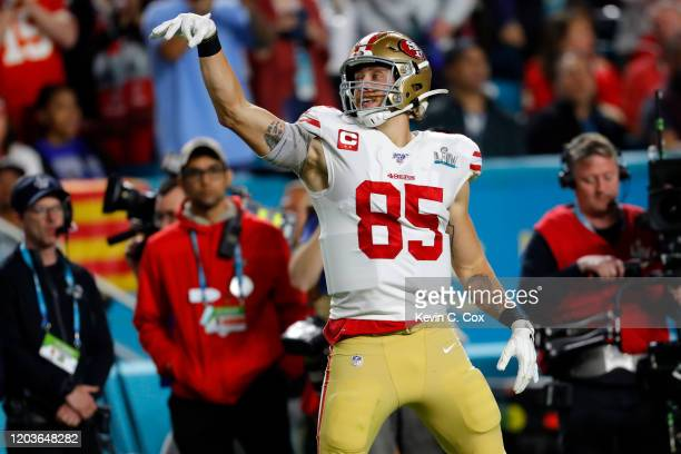George Kittle of the San Francisco 49ers reacts against the Kansas City Chiefs during the second quarter in Super Bowl LIV at Hard Rock Stadium on...