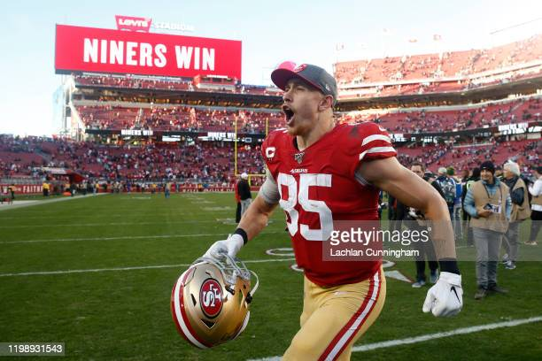 George Kittle of the San Francisco 49ers reacts to winning the NFC Divisional Round Playoff game against the Minnesota Vikings at Levi's Stadium on...