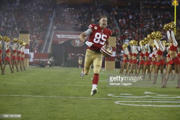 George Kittle of the San Francisco 49ers takes the field during introductions prior to the game against the New York Giants at Levi's Stadium on...