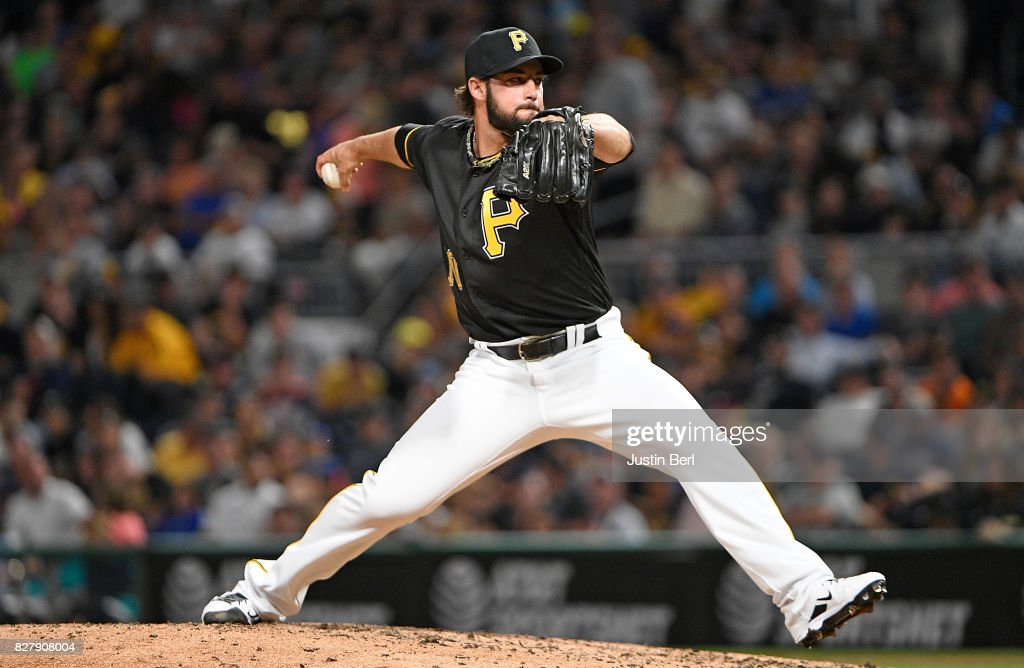 George Kontos #70 of the Pittsburgh Pirates delivers a pitch in the eighth inning during the game against the Detroit Tigers at PNC Park on August 8, 2017 in Pittsburgh, Pennsylvania.