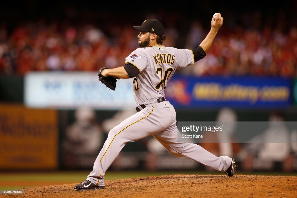 George Kontos #70 of the Pittsburgh Pirates pitches during the eighth inning against the St. Louis Cardinals at Busch Stadium on September 9, 2017 in St. Louis, Missouri.