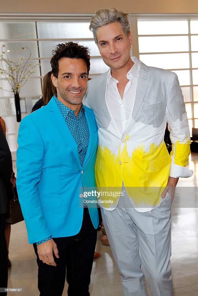 George Kotsiopoulos and Cameron Silver attend a cocktail reception hosted by Ferragamo to announce the inaugural opening gala for the Wallis Annenberg Center for the Performing Arts at Gagosian Gallery on May 3, 2013 in Beverly Hills, California.