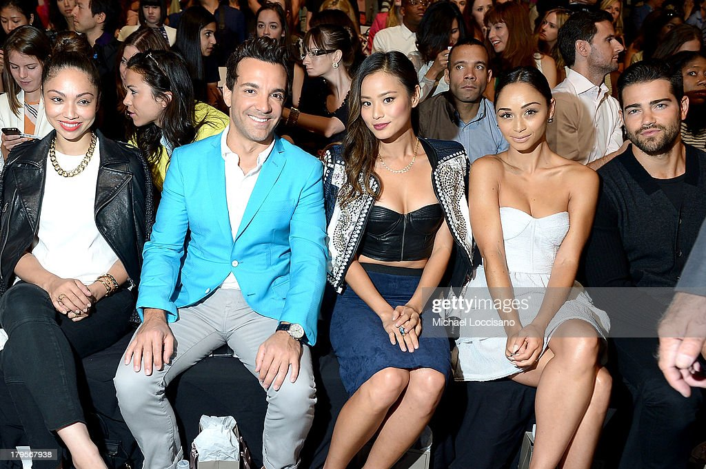 George Kotsiopoulos, Jamie Chung, Cara Santana and Jesse Metcalfe attend the BCBGMAXAZRIA Spring 2014 fashion show during Mercedes-Benz Fashion Week at The Theatre at Lincoln Center on September 5, 2013 in New York City.