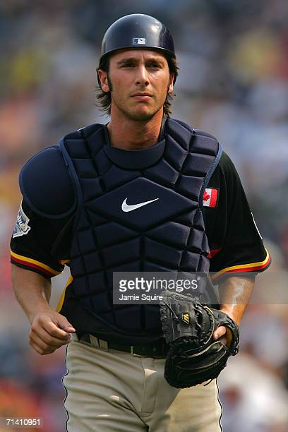 George Kottaras of the World Team in action against the U.S.A. Team during the XM Satellite Radio All-Star Futures Game at PNC Park on July 9, 2006...