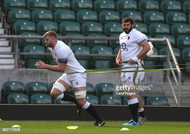 George Kruis and Don Armand warm up during the England captain's run at Twickenham Stadium on March 16 2018 in London England