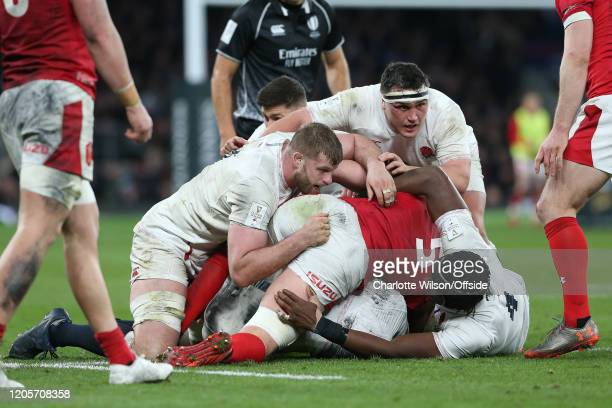 George Kruis and Jamie George of England during the 2020 Guinness Six Nations match between England and Wales at Twickenham Stadium on March 7, 2020...