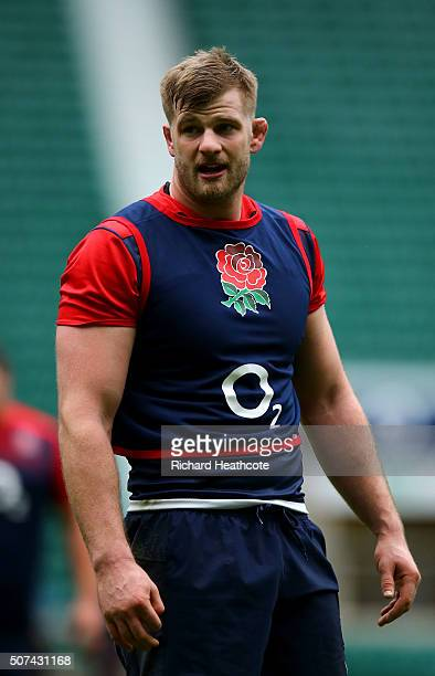 George Kruis during an England Rugby open training session at Twickenham Stadium on January 29 2016 in London England