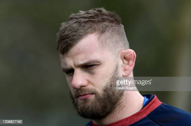 George Kruis faces the media during the England media session held at Harwell Laboratories Recreational Association on February 26, 2020 in Didcot,...