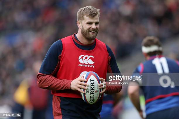 George Kruis in action during an England Open Training Session at Twickenham Stadium on February 14, 2020 in London, England.