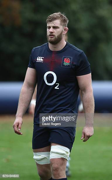 George Kruis looks on during the England training session held at Pennyhill Park on November 24 2016 in Bagshot England
