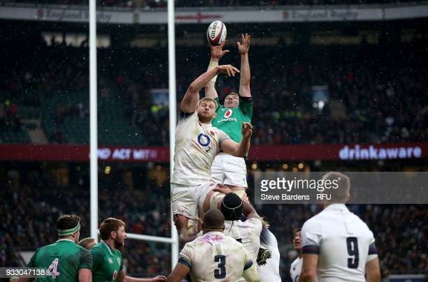 George Kruis of England attempts to win the ball from a lineout during the NatWest Six Nations match between England and Ireland at Twickenham...