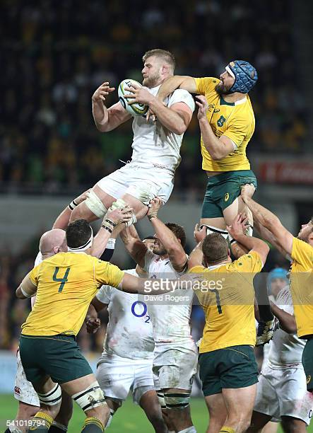 George Kruis of England breaks Scott Fardy to the lineout ball during the International Test match between the Australian Wallabies and England at...