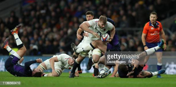 George Kruis of England charges upfield during the Guinness Six Nations match between England and Scotland at Twickenham Stadium on March 16, 2019 in...