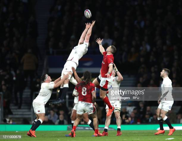 George Kruis of England collects a line-out ball during the 2020 Guinness Six Nations match between England and Wales at Twickenham Stadium on March...
